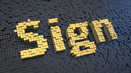 sigil: Word Sign of the yellow square pixels on a black matrix background Stock Photo
