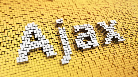 ajax: Pixelated word Ajax made from cubes, mosaic pattern