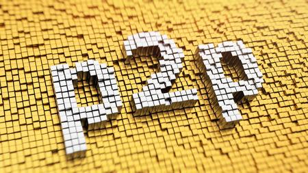 peer to peer: Pixelated acr�nimo 'p2p' hecha de cubos, patr�n de mosaico