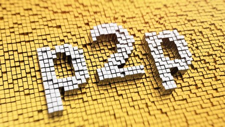 Pixelated acronym 'p2p' made from cubes, mosaic pattern