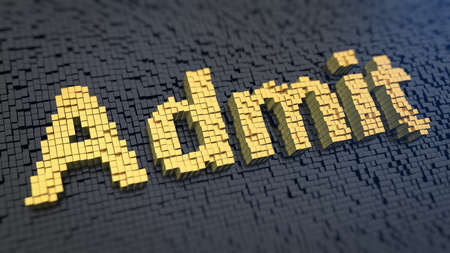 Word Admit of the yellow square pixels on a black matrix background. Admisson concept. Stock Photo