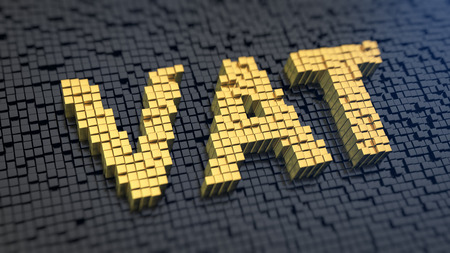 Acronym 'VAT' of the yellow square pixels on a black matrix background. A value-added tax (VAT) is a tax on the purchase price. Standard-Bild