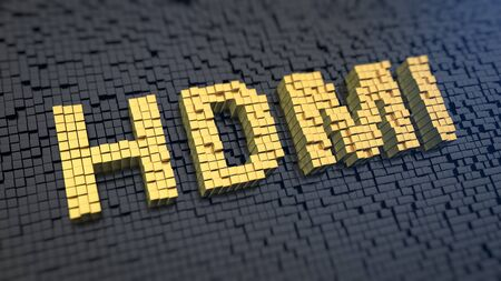 Acronym HDMI of the yellow square pixels on a black matrix background. Interface for transferring audio and video data