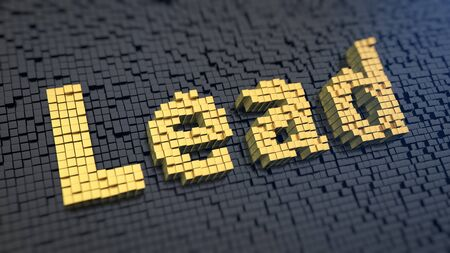 cpa: Word Lead of the yellow square pixels on a black matrix background. CPA concept.