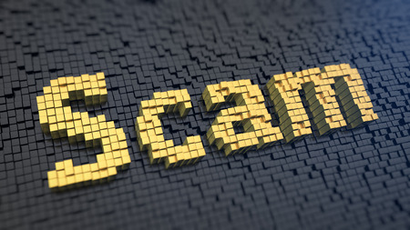 scamming: Word Scam of the yellow square pixels on a black matrix background Stock Photo