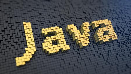말씀 블랙 매트릭스 배경에 노란색 정사각형 픽셀의 '자바'. 인기있는 클라이언트 - 서버 프로그래밍 언어 스톡 콘텐츠
