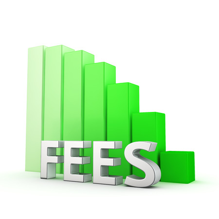 downward: Moving down green bar graph of Fees on white