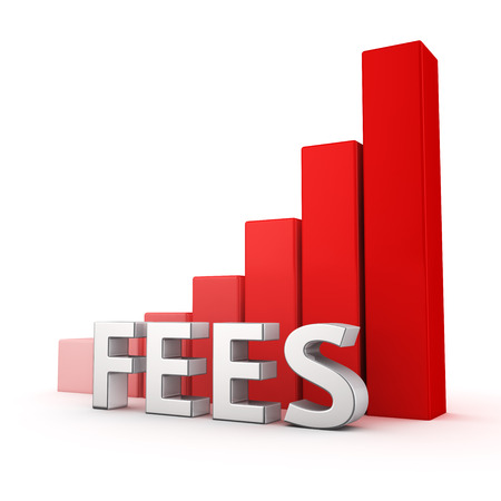 pay raise: Moving up red bar graph of Fees on white. Crisis concept. Stock Photo