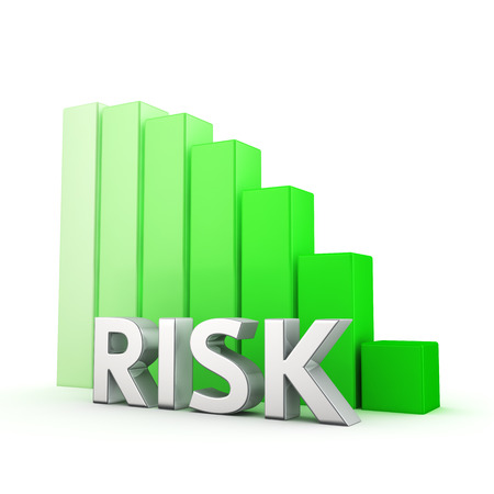 Moving down green bar graph of Risk on white photo
