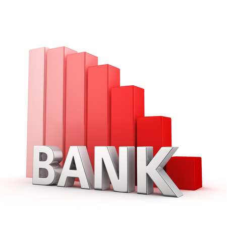 moving down: Moving down red bar graph of Bank on white. Recession and crisis concept.