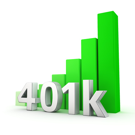 upward graph: Green bar graph of 401k on white. Growth and development concept.