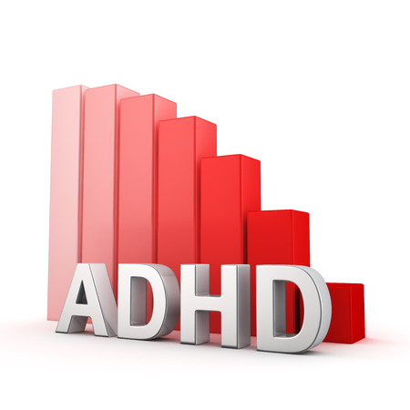 moving down: Moving down red bar graph of ADHD on white. Recession and crisis concept. Stock Photo