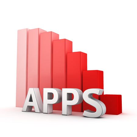 moving down: Moving down red bar graph of Apps on white. Recession and crisis concept. Stock Photo