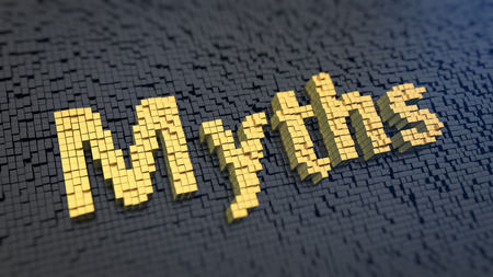 myths: Word Myths of the yellow square pixels on a black matrix background