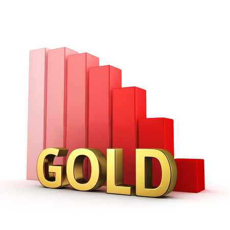 moving down: Moving down red bar graph of Gold on white. Recession and crisis concept.