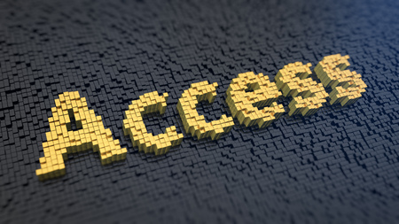 Word Access of the yellow square pixels on a black matrix background. Permission granted concept.
