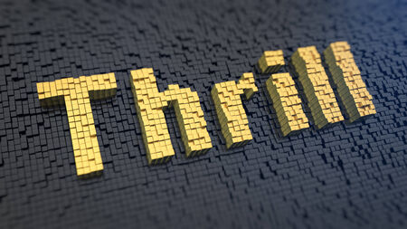 thrill: Word Thrill of the yellow square pixels on a black matrix background
