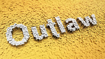 outlaw: Pixelated word Outlaw made from cubes, mosaic pattern