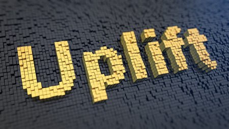 uplift: Word Uplift of the yellow square pixels on a black matrix background. Modernize and tuning concept.