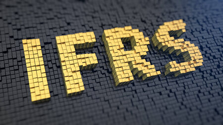 Acronym IFRS of the yellow square pixels on a black matrix background. Tax payment concept.
