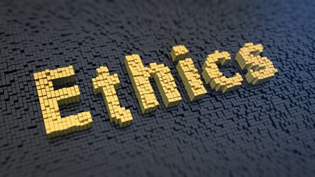 morals: Word Ethics of the yellow square pixels on a black matrix background. Morals and rights concept.
