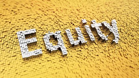 """equity: Pixelated palabra """"equidad"""" hecha de cubos, patr�n de mosaico"""