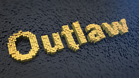 outlaw: Word Outlaw of the yellow square pixels on a black matrix background