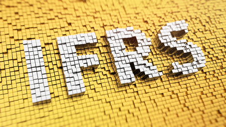 Pixelated acronym IFRS made from cubes, mosaic pattern Stock Photo