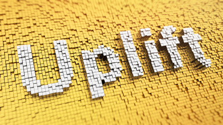 uplift: Pixelated word Uplift made from cubes, mosaic pattern