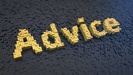 hints: Word Advice of the yellow square pixels on a black matrix background. Useful tips and hints concept.