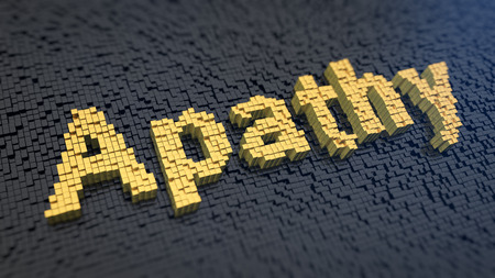 lethargy: Word Apathy of the yellow square pixels on a black matrix background Stock Photo