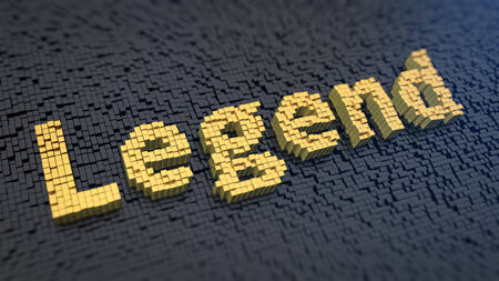 legends folklore: Word Legend of the yellow square pixels on a black matrix background. Legendary words concept.