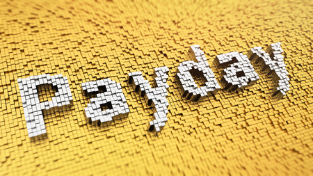 payday: Pixelated word Payday made from cubes, mosaic pattern