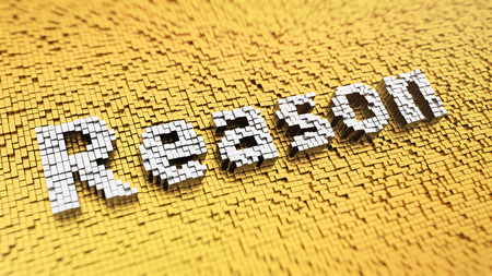 deduce: Pixelated word Reason made from cubes, mosaic pattern