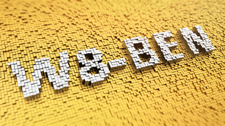 taxpayers: Pixelated word W8-BEN made from cubes, mosaic pattern