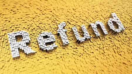 recurrence: Pixelated word Refund made from cubes, mosaic pattern