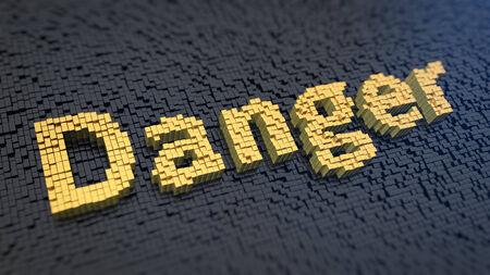 imminence: Palabra 'Peligro' de los amarillos píxeles cuadrados sobre un fondo negro de la matriz