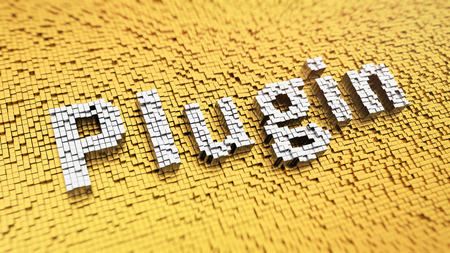 Pixelated word Plugin made from cubes, mosaic pattern Stock Photo