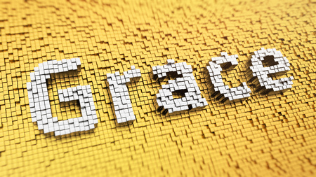 Pixelated word Grace made from cubes, mosaic pattern