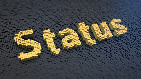 Word Status of the yellow square pixels on a black matrix background. What is your status? Stock Photo