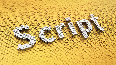 java script: Pixelated word Script made from cubes, mosaic pattern Stock Photo