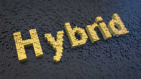 Word Hybrid of the yellow square pixels on a black matrix background. Technology concept.