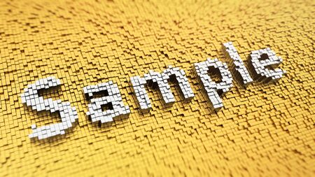 Exemplar: Pixelated word Sample made from cubes, mosaic pattern