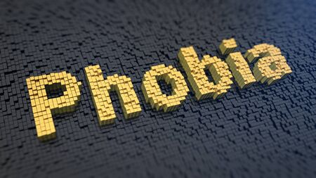 phobia: Word Phobia of the yellow square pixels on a black matrix background