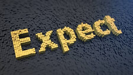 reckon: Word Expect of the yellow square pixels on a black matrix background Stock Photo