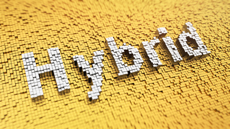 Pixelated word Hybrid made from cubes, mosaic pattern