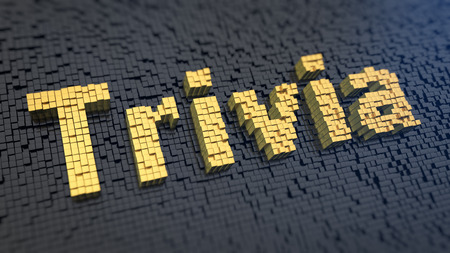 trivia: Word Trivia of the yellow square pixels on a black matrix background. Quiz concept. Stock Photo