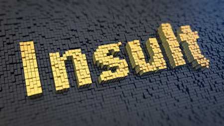 insult: Word Insult of the yellow square pixels on a black matrix background