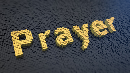 orison: Word Prayer of the yellow square pixels on a black matrix background