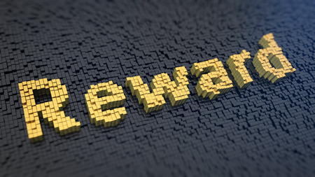 recompense: Word Reward of the yellow square pixels on a black matrix background